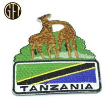 New trend in usa Chinese supplier custom Tanzania giraffe badge embroidery patch for souvenir