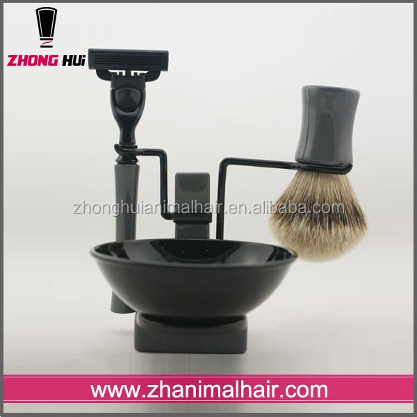 Wholesale alibaba Badger set brushes make up 3 blade razor shaving brush set
