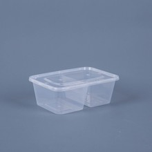 Plastic food container 2-Compartment Microwave safe black Container with lid/divider lid