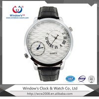 latest style quartz brand name crocodile leather dual time watch