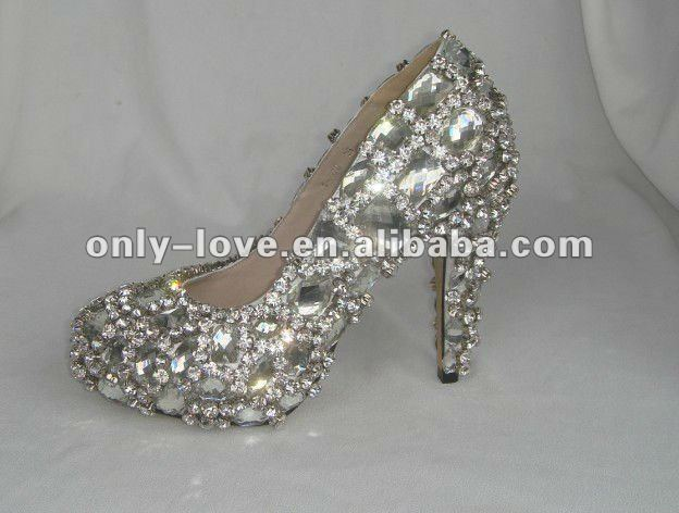 BS027 high quality full white crystals high heel bridal wedding rhinestones shoes