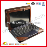 Brown genuine pu leather case for ipad portfolio with keyboard
