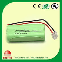 Rechargeable nimh battery pack 2.4v 2*AAA 600mAh rechargeable battery with solder tab for emergency lights, power tools