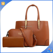 Brown 3 IN 1 Ladies Handbag 3 pieces Clutch Purse Set PU Bag Set