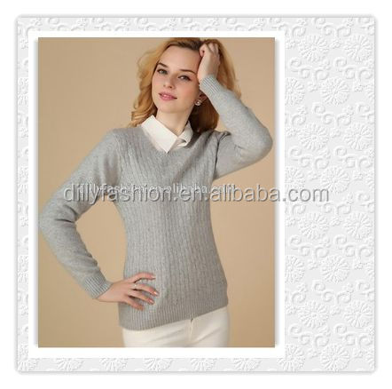100% cashmere cable knitted jumper sweater design for lady