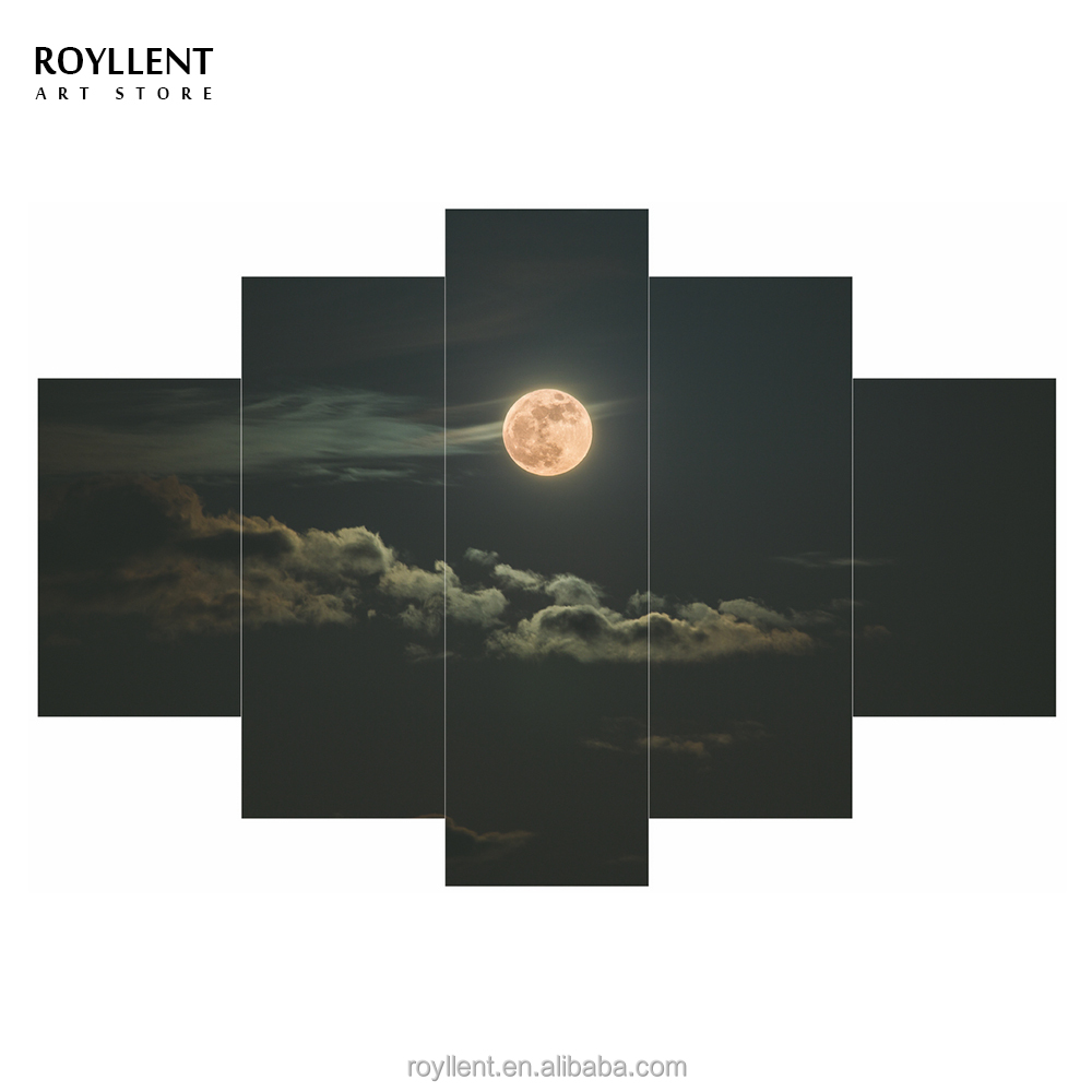 5 Panel Canvas Wall Art Moon in Clouds House Painting Landcape Frame Picture Printed Modern Home Decor Hotel Wholesale RA0152