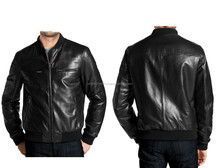 SIMPLE AND ELEGANT MENS LEATHER BOMBER JACKET