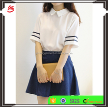2017 new design Summer chiffon Lolita White Sailor sexy girls high school uniform design
