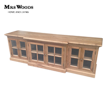 Classic solid oak 6 glass door wooden tv cabinet furniture tv stand pictures
