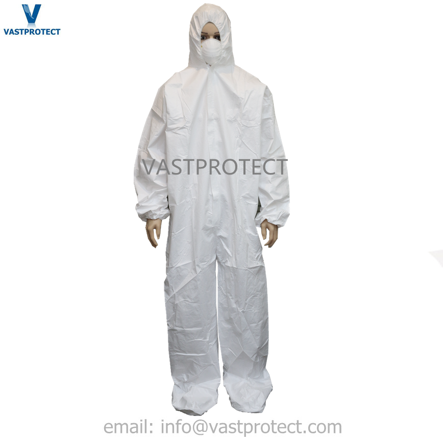 Hooded disposable sf microporous coverall with boot cover