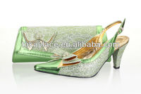 2013 fashionable shining shoes and bag for ladies