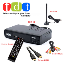 Junuo TV BOX Factory Decodificador TDT Receptor Digital DVB T2 +Antenna+HD Cable+Remote for Colombia