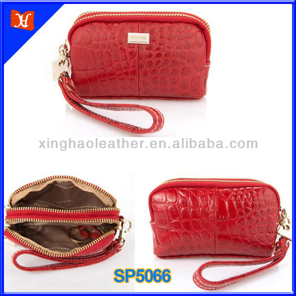 Luxury red crocodile fashion cosmetic bags and cases, two compartments leather zipper fashion modella cosmetic bag