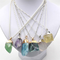 Fashion Raw Rock Amethyst Necklace Stainless Steel Silver Agate Pendant