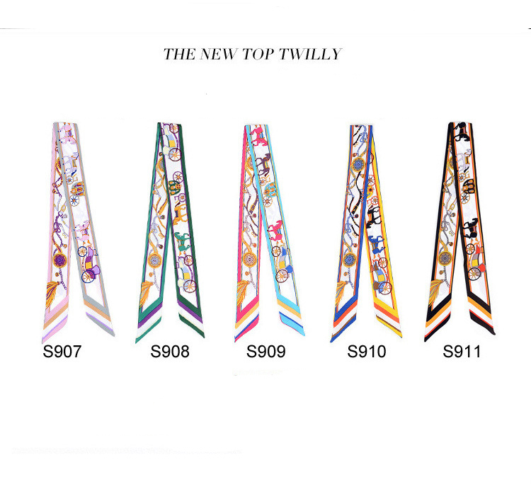 Handmade Band wholesale custom new style <strong>scarves</strong> lady twilly ribbon tied the bag handle ribbon <strong>scarf</strong> S907-S911