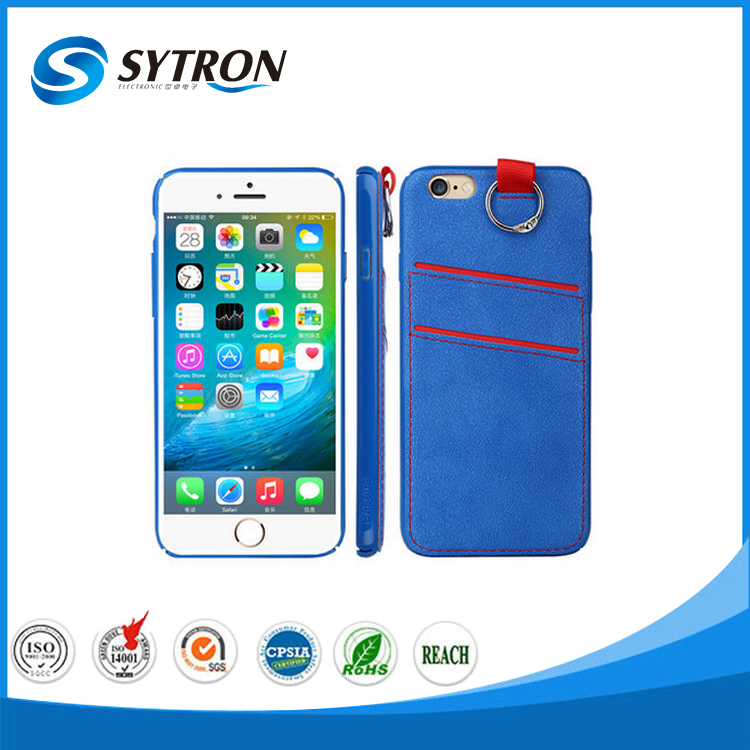 Double Card-Slot Sling PC+PU Back Cover Case for iphone 6 plus