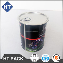 Printed 0.8 litre lubricant oil can,800ml motor oil round can easy open end,industrial oil tin can easy pull lid