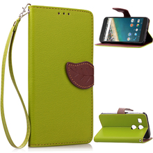 Luxury Magnetic Leaf PU Leather Wallet Flip Phone Protective Cover Case For Google Nexus 5X Coque Stand Holder Pouch Bag