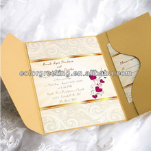 Wholesale elegant pocket fold wedding invitations