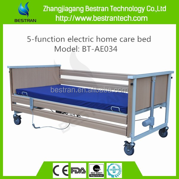 BT-AE034 Collapsible side rail steel bedboard 5-function discount home care wooden beds sales