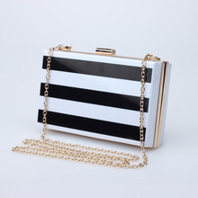 <strong>Fashion</strong> black and white stripe acrylic square box lady evening cluth