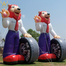 Giant inflatable tire fox, inflatable cartoon for tire advertising, inflatable car fox model