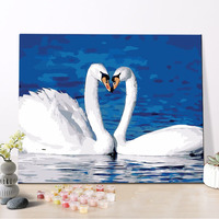 CHENISTORY DZ1564 Paint By Numbers Diy Happy White Swan With Wood Frame