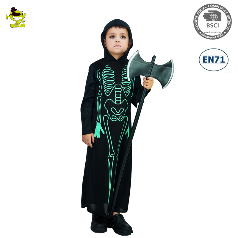 New design Halloween party kids Green Fluorescence Skeleton costume