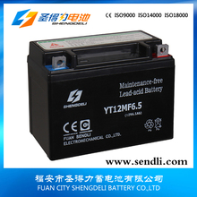 CE&UL approvable 12v 6.5ah rechargeable motorcycle battery