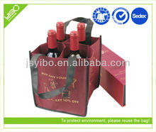 Red nonwoven recycled plastic bottle tote bag
