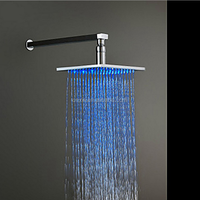 8 Inches square copper LED temperature control luminous top spray shower head to change color A0012