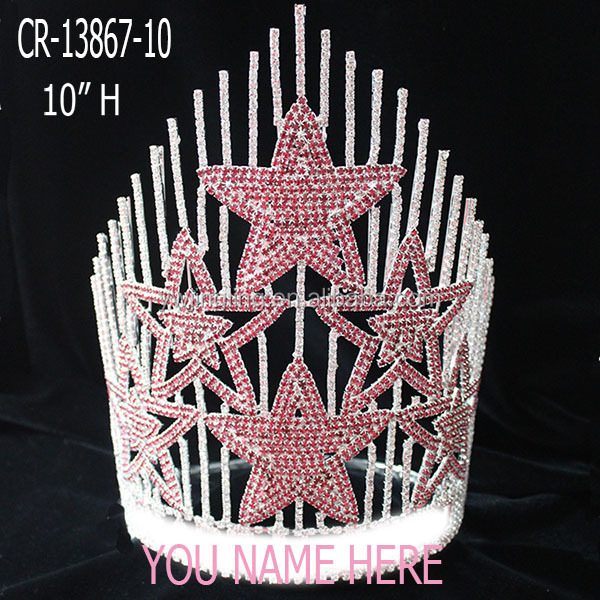 Handmade Pink Star Beauty Pageant Crown Tiara For Wedding