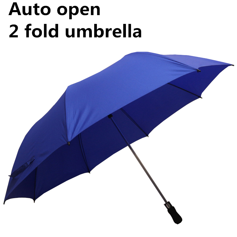 China Umbrella 27 inch Blue Pongee Material Auto open 2 Fold Umbrella