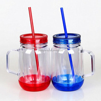 insulated 20OZ double wall plastic beer cups mason jar for promotional