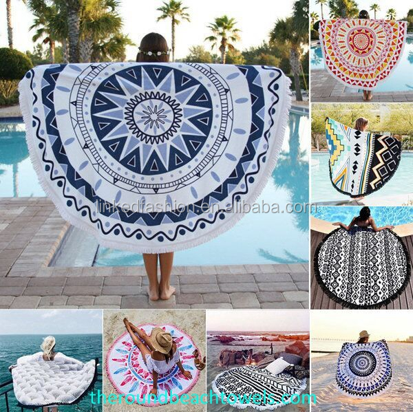 Made in Turkey 150 cm Round Beach towel with tassels from Factory