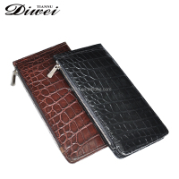 Personalized Crocodile Leather Business Card Holder Zipper Wallet For Mens