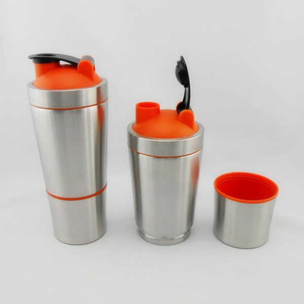 700ml+200ml Dual Stainless Steel Shaker with Proteins Storage Compartment