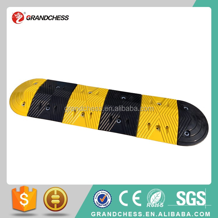 Hot Sales Yellow & Black 250mm long EPDM Portable Road Rubber Speed Bump