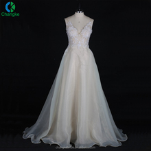 2018 Alibaba Most Popular V Neck And Back Out Design A-line Wedding Gowns For Beautiful Bridal