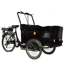 "26"" three wheeler dutch style electric Front loading cargo trike"
