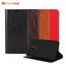 Cell Phone Accessories Cover Luxury Business Crazy Horse Genuine Leather Wallet Case for Motorola Moto G5 G5 plus Flip