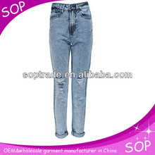 Factory skinny jeans wholesale ladies latest fashion ripped jeans women
