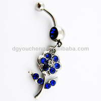 316Lstainless steel dangle navel belly ring indian body jewelry