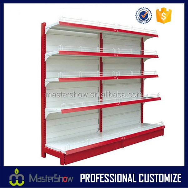 Single-sided custom metal supermarket display stand supermarket stand shelf