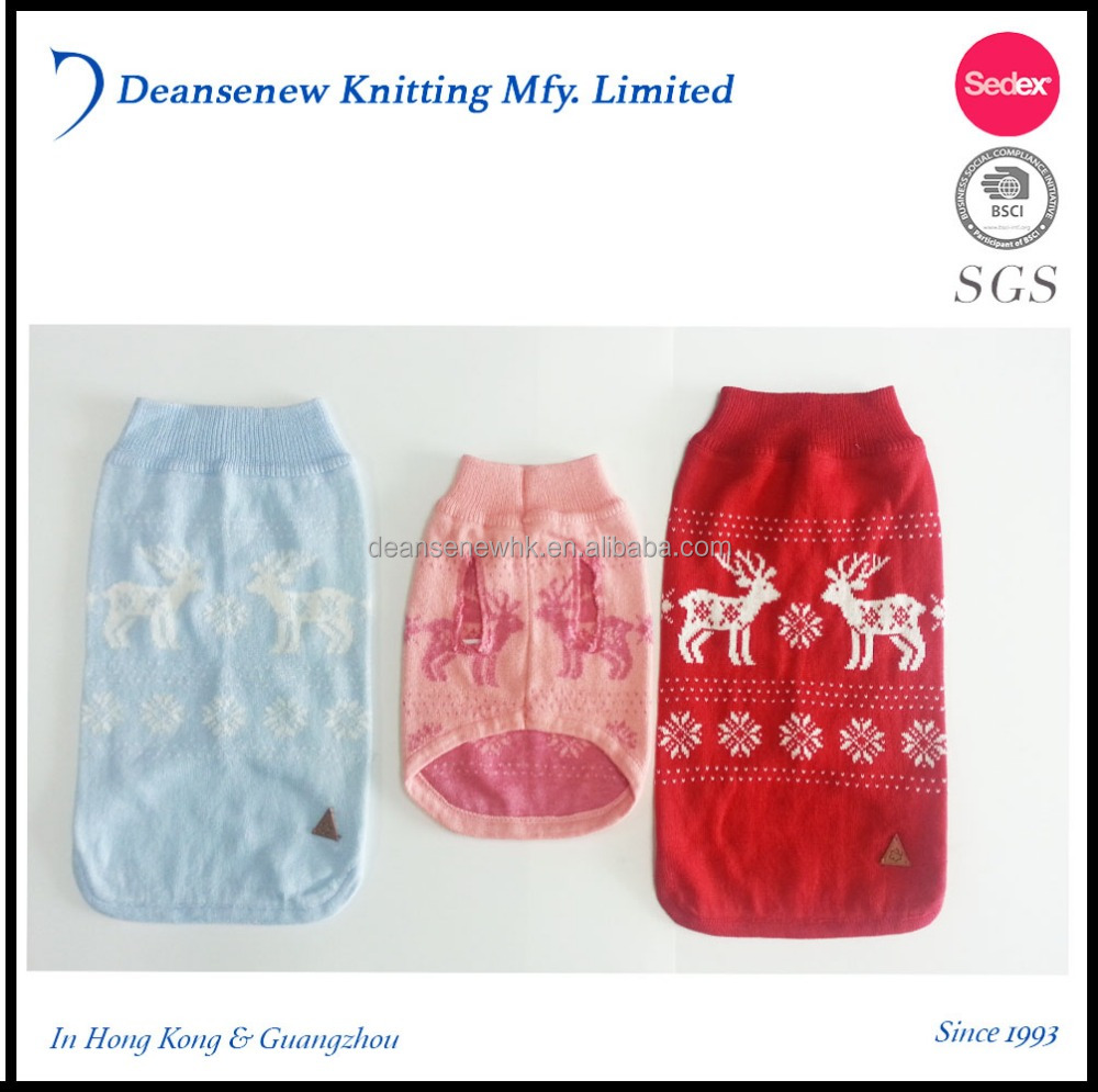 Pets Doggie Jumper Fashion Custom Made 100% acrylic jacquard Christmas Deer