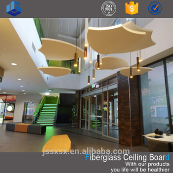 Acoustic decorative glass fiber ceiling board for sale