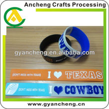 Fashional i love cowboy texans texas silicone bracelet wristbands promotion products