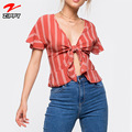 Direct Factory Wholesale Women's Off Shoulder Short Sleeve Striped Crop Top Blouse Sexy Top