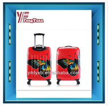 2015 china alibaba Hot sale girl's ABS/PC hardcase travel trolley luggage /butterfly print/ carry-on suitcase