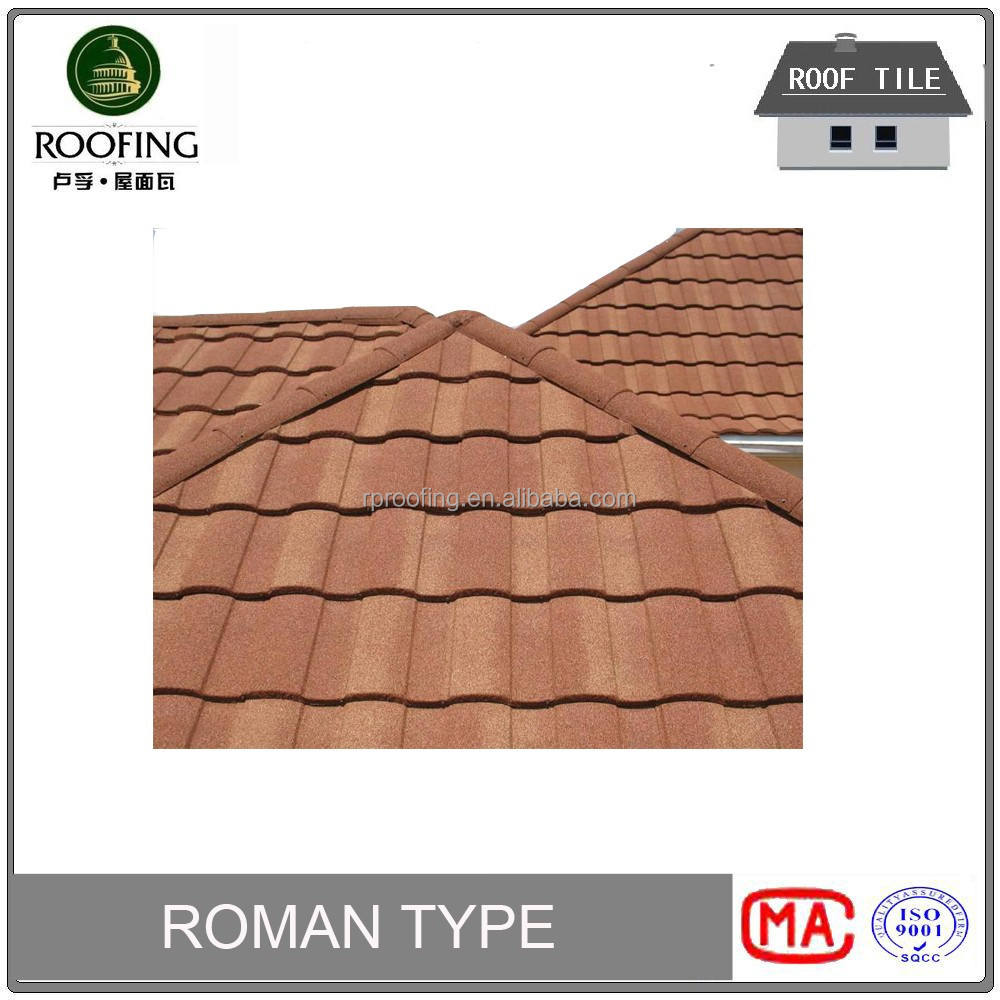 [Factory direct roofing shingles] Roman colorful stone coated metal roof tile